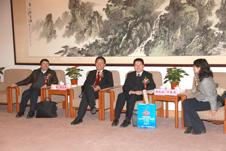 项玉章总检验师与法规司司长刘兆彬、中消协副会长兼秘书长杨红灿、监督司副司长刘春燕就引导质量消费话题进行交谈